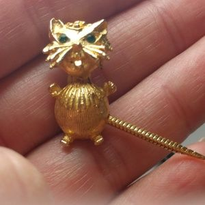 Vintage gold Cat green eyes articulated Tail PinVi